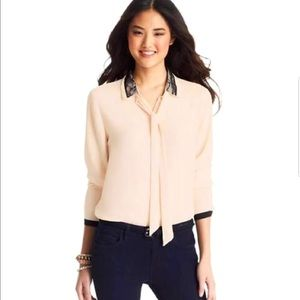 🎉 💖 Ann Taylor LOFT - Lace Collared Button Up Blouse ✨